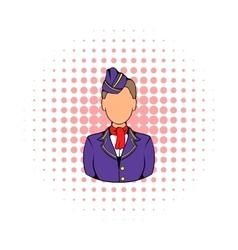 Stewardess icon in comics style vector image