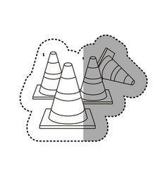 sticker silhouette striped traffic cone set icon vector image