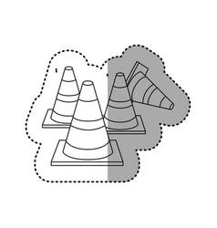 Sticker silhouette striped traffic cone set icon vector