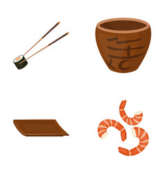 Sticks shrimp substrate bowlsushi set vector