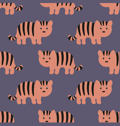 Stylized tiger cartoon style background vector