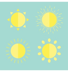 Sun set in flat design style Blue background vector