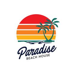 Sunset beach logo design vector