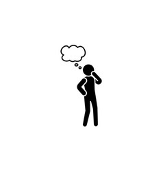 thinking man icon person thinking icon black vector image
