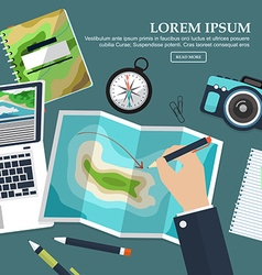 Travel planning in a flat style traveller table vector