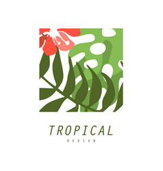 Tropical logo design square geometric badge with vector