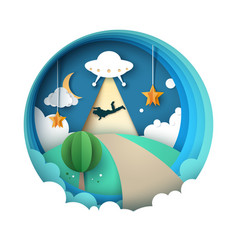 ufo kidnaps a person - cartoon paper vector image