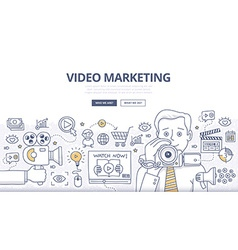 Video Marketing Doodle Concept vector