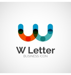 W letter logo minimal line design vector