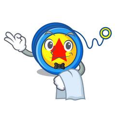 Waiter yoyo mascot cartoon style vector