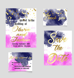 wedding set in watercolor style vector image