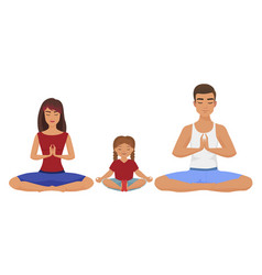 Young white family yoga lotus vector