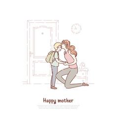 Young woman kiss little child parent send vector