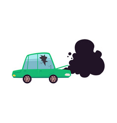 broken car cracked glass smoke from hood vector image