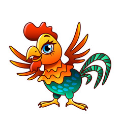 cartoon chicken isolated vector image vector image