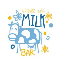 nature milk bar logo symbol colorful hand drawn vector image vector image