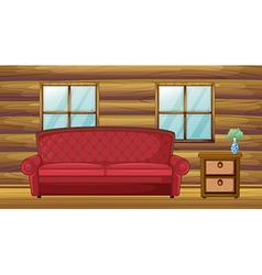 red sofa and side table vector image