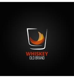 whiskey glass splash design background vector image