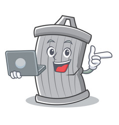 with laptop trash character cartoon style vector image