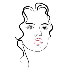 young womans face vector image