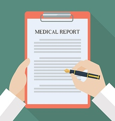 Doctor hand writing on medical report vector image vector image