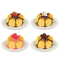 tasty fluffy pancakes vector image