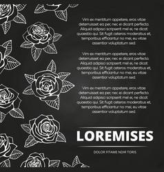 white hand drawn roses chalkboard poster design vector image