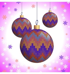 Three Knitted Christmas Balls vector image vector image