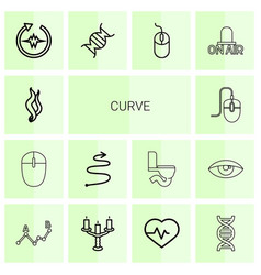 14 curve icons vector