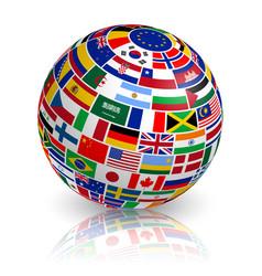 3d inclined flag globe vector