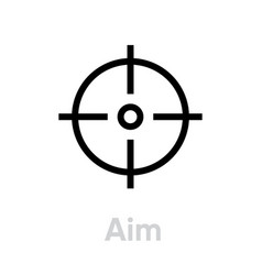 Aim target icon editable line vector