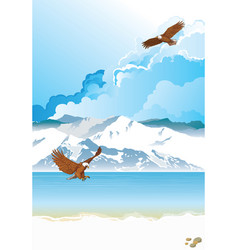 Arctic landscape with eagle fishing vector