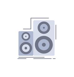 Audio hifi monitor speaker studio flat color icon vector
