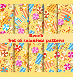Beach seamless pattern set with chaise lounge vector