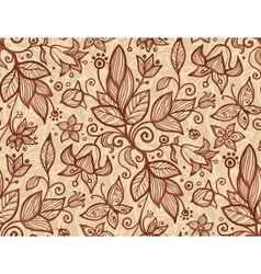 Beige flowers seamless pattern vector image