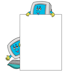 Blank frame with two computers vector
