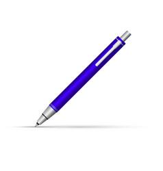 Blue button ballpoint pen writes at an angle of vector