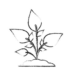 Blurred silhouette image cartoon plant with leaves vector