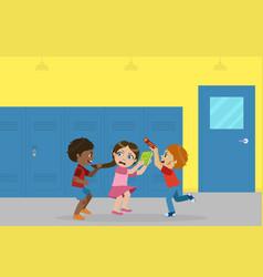 Boy and girl fighting for ball bad behavior vector