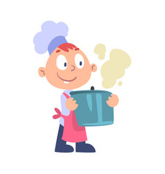Boy chef cook holding hot pot cute child cooker vector