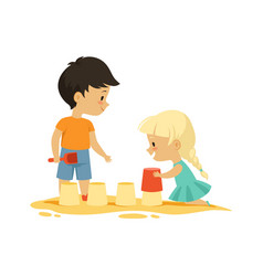boy girl in sandbox outdoor activity isolated vector image