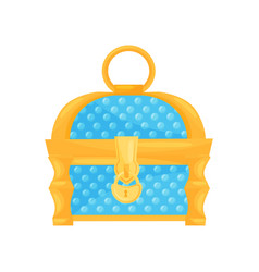 Bright blue chest with golden lock and handle vector