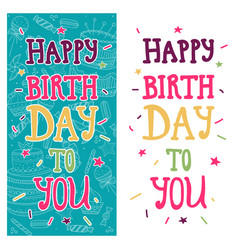 bright greeting card with text happy birthday to vector image