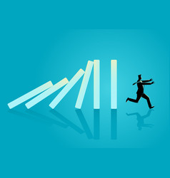 Businessman running away from domino effect vector