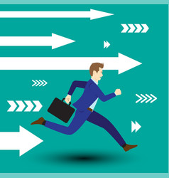 businessman running forward with white arrows vector image