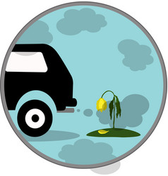 car exhaust co2 smoke icon vector image