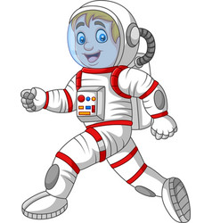 cartoon astronaut walking isolated on white backgr vector image