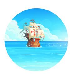 cartoon background ship vector image