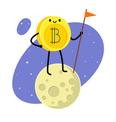 cartoon bitcoin character vector image