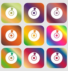 CD or DVD icon sign Nine buttons with bright vector image